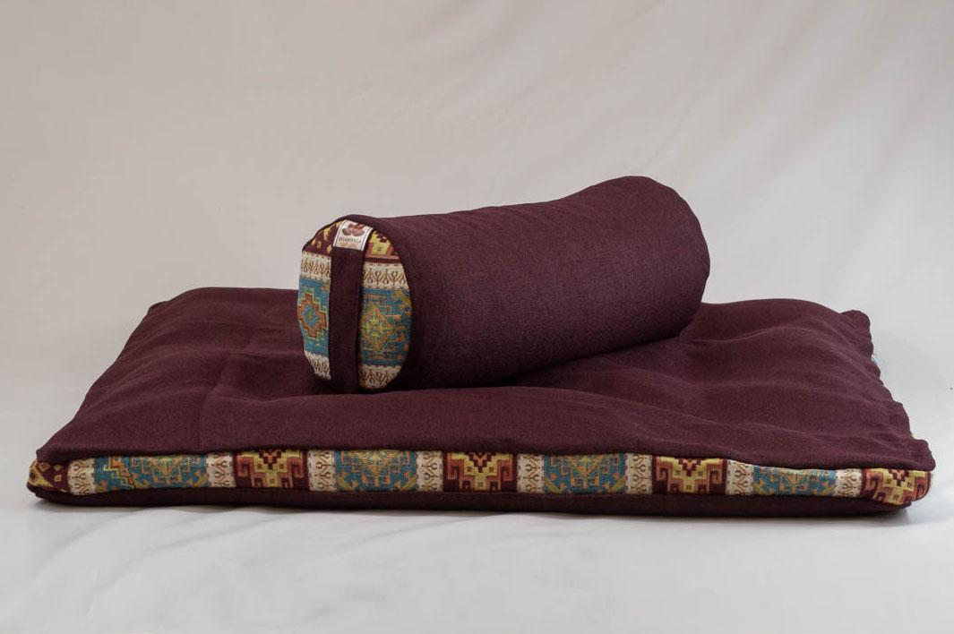 Pernă Set Meditație Zabutan EcoYoga Lotus #Bordo 1 cu Husă Detașabilă