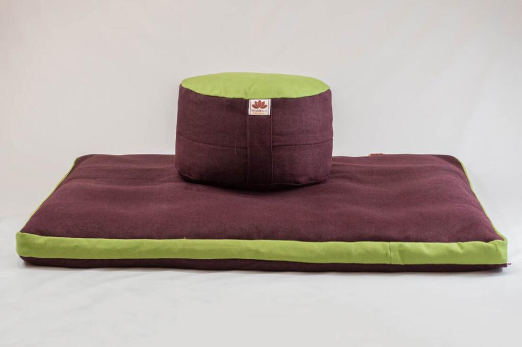 Pernă Set Meditație Zabutan EcoYoga Apple #Bordo 2 cu Husă Detașabilă