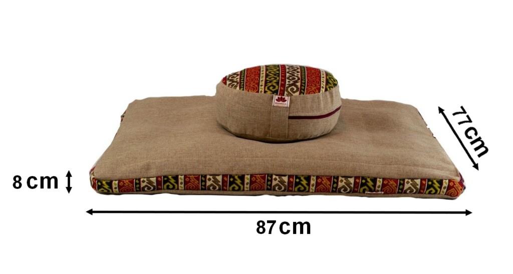 Pernă Set Meditație Zabutan cu husă detașabilă EcoYoga India #Crem 4